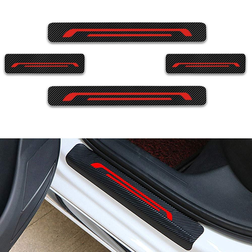 For Alaskan Clio Kadjar Koleos Door Sill Protector,Kick Plates Pedal Threshold Cover Carbon Fiber Sticker Anti-Scratch Anti-Slip Car Styling 4Pcs Red