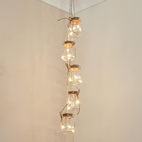 Festive Lights Firefly Jar Lights - Hanging Hook - Silver Wire - Warm White LEDs - Timer - Battery Operated by