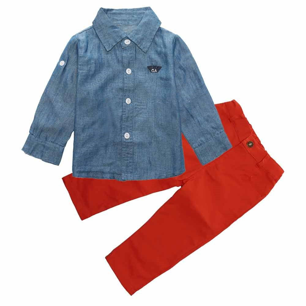 1 Set Kids Toddler Boys Handsome Denim T-shirt+Trousers Pants Clothes Outfits Mary ye