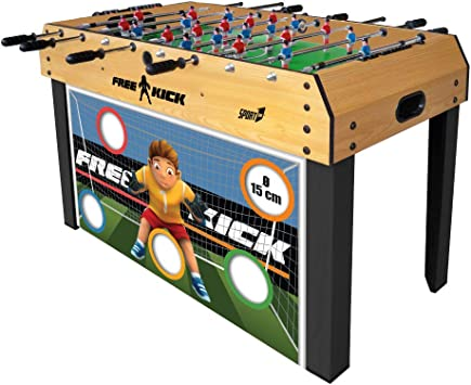 Sport 1 Futbolín Free Kick con Goal Target – Futbolín 6 vs 6 Barras telescópicas 122 x 61 x 78 cm y Puerta de fútbol extraíble con 5 Target Ø 15 cm: Amazon.es: Juguetes y juegos