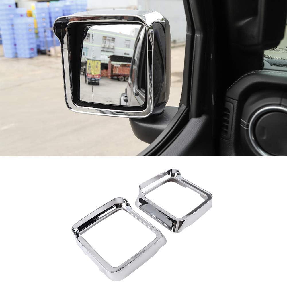 Hgcar ABS Chrome Car Side Mirror Rain Eyebrow Decoration Frame 2PCS for Jeep Wrangler JL 2018+