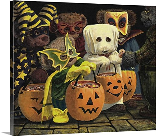 [John Bindon Premium Thick-Wrap Canvas Wall Art Print entitled Trick or treats] (Animal Costumes Made From Recycled Materials)