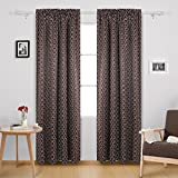 Deconovo Rod Pocket Blackout Curtains Thermal Insulated Blackout Drapes Curtains for Bedroom 42W x 84L Inch with Printed Circle Pattern Brown 2 Panels