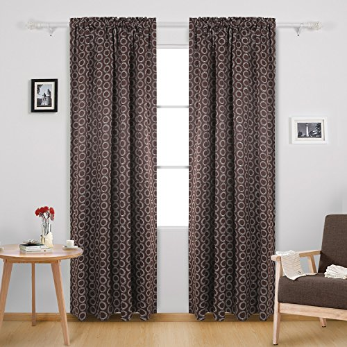 Deconovo Rod Pocket Blackout Curtains Thermal Insulated Blackout Drapes Curtains for Bedroom 52W x 84L Inch with Printed Circle Pattern Brown 2 Panels For Sale