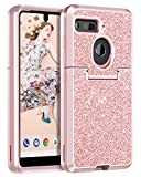 BENTOBEN Case Essential Phone PH-1 Shockproof Glitter Sparkle Bling Girl Women 3 in 1 Shiny Faux Leather Hard Case Soft Bumper Protective Phone Case Cover Essential Phone PH1, Rose Gold/Pink