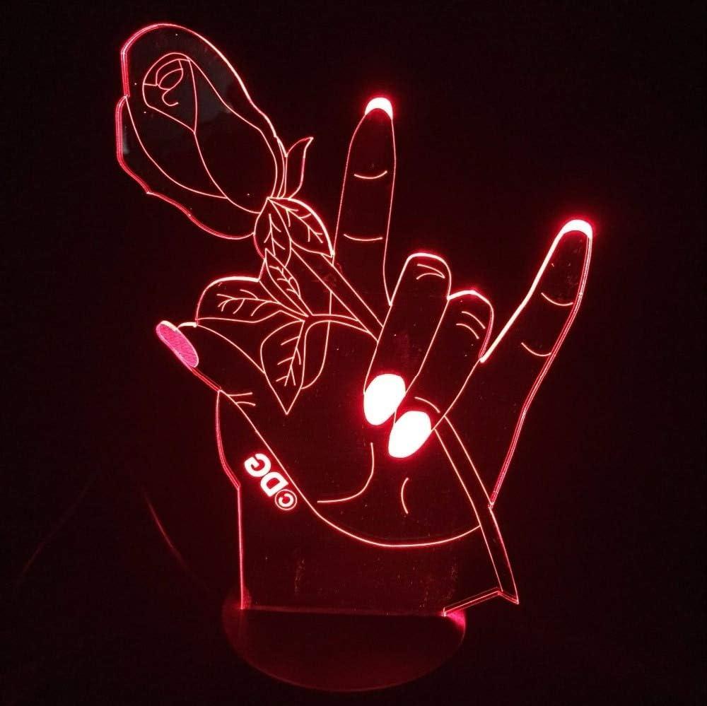 Rose lámpara de Mano botón táctil lámpara de Mesa de Moda Cambio de Color Familia Sala de Estar iluminación decoración luz Nocturna