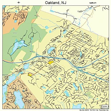 Amazon.com: Large Street & Road Map of Oakland, New Jersey NJ ...