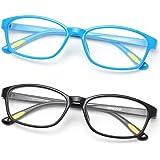 Gaoye 2 Pack Kids Blue Light Blocking Glasses Age 3-12, Computer Gaming Square Eye-Glasses Girls Boys Anti UV Ray