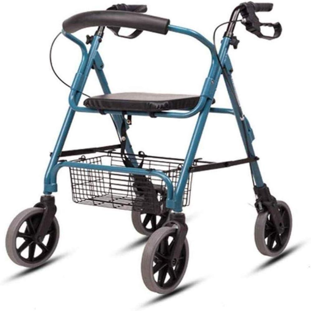YEESEU 4 Andador de Ruedas, Plegable, de aleación de Aluminio, de Ruedas Rollator Walker, Asas ergonómicas, Suministros Elderlyauxiliary, Durable