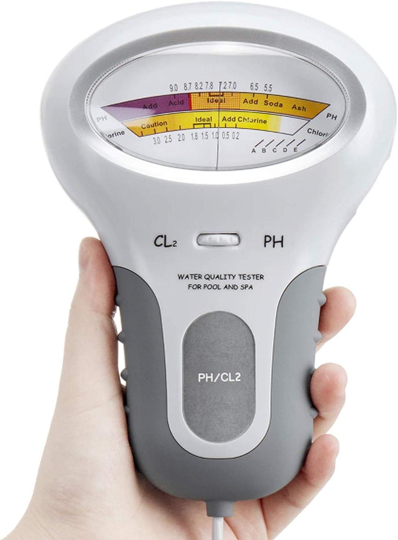 NKIE Werkzeug Probador de pH del Suelo, la Calidad del Agua de la Piscina Bañera SPA PH CL2 Tester de Cloro Medidor de Nivel de Gas Haus & Garten (Color : White)