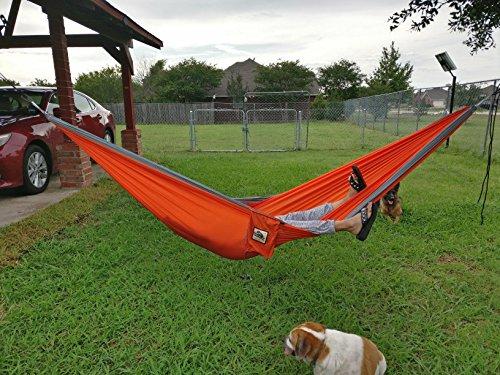 Portable Outdoor Hammocks [3rd Generation]Wolfyok(TM) Multifunctional Lightweight Nylon Parachute Travel Camping Hammock,Blue/Brown