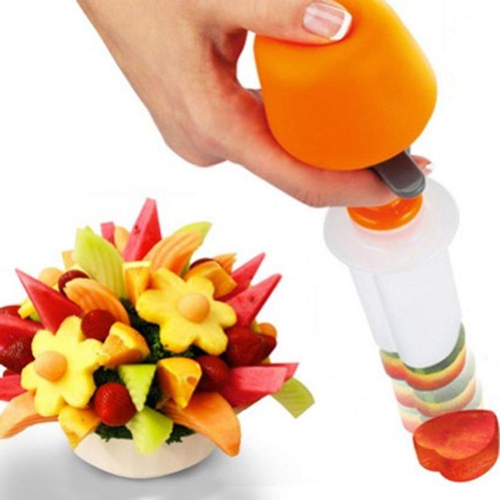 ESSAOAT Home Decor 6Plastic Fruit Shape Cutter Slicer - Creative Kitchen Pop Chef Tools Food Make
