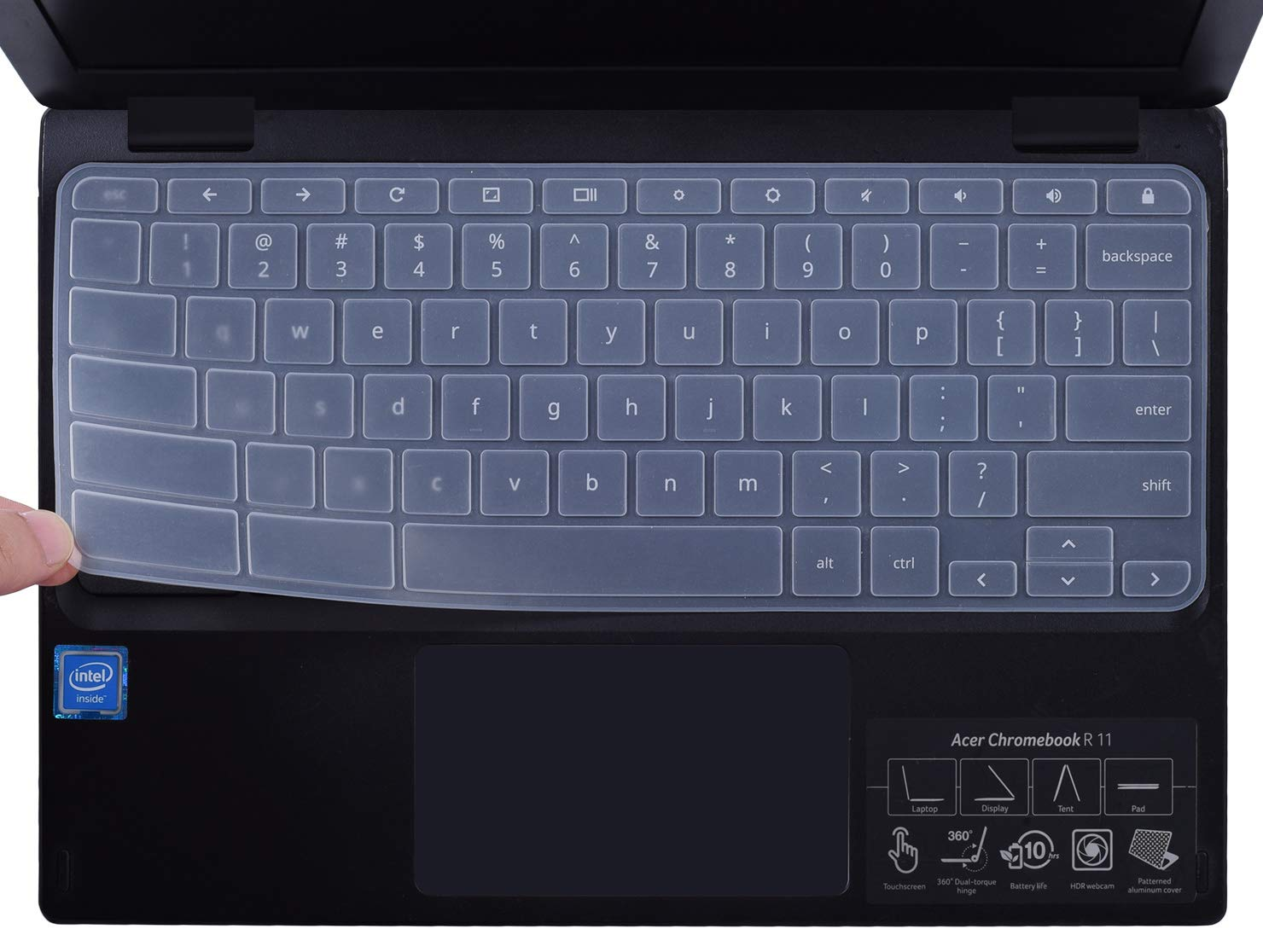 CaseBuy Keyboard Skin Cover Compatible 2018/2017 Chromebook R 11 Convertible CB5-132T / Chromebook 11 CB3-131 CB3-132 / Acer Chromebook R 13 CB5-312T Chromebook (Clear)