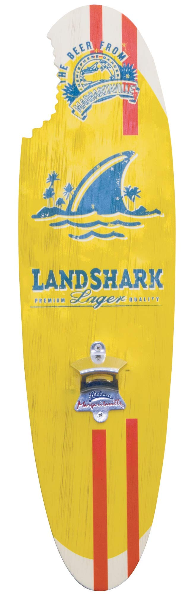 Margaritaville Landshark Indoor/Outdoor Bottle Opener Surfboard Shaped Garden Sign with Magnetic Cap Catcher Wooden Wall Art