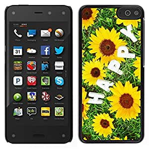 Stuss Case / Funda Carcasa protectora - Sunflowers Happy Inscription - Amazon Fire Phone