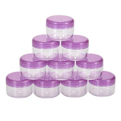 Demiawaking 10 Pcs Frasco Envase Botella Tarro Vacío Plástico Cosmético Portátil para Sombra de Ojos Maquillaje