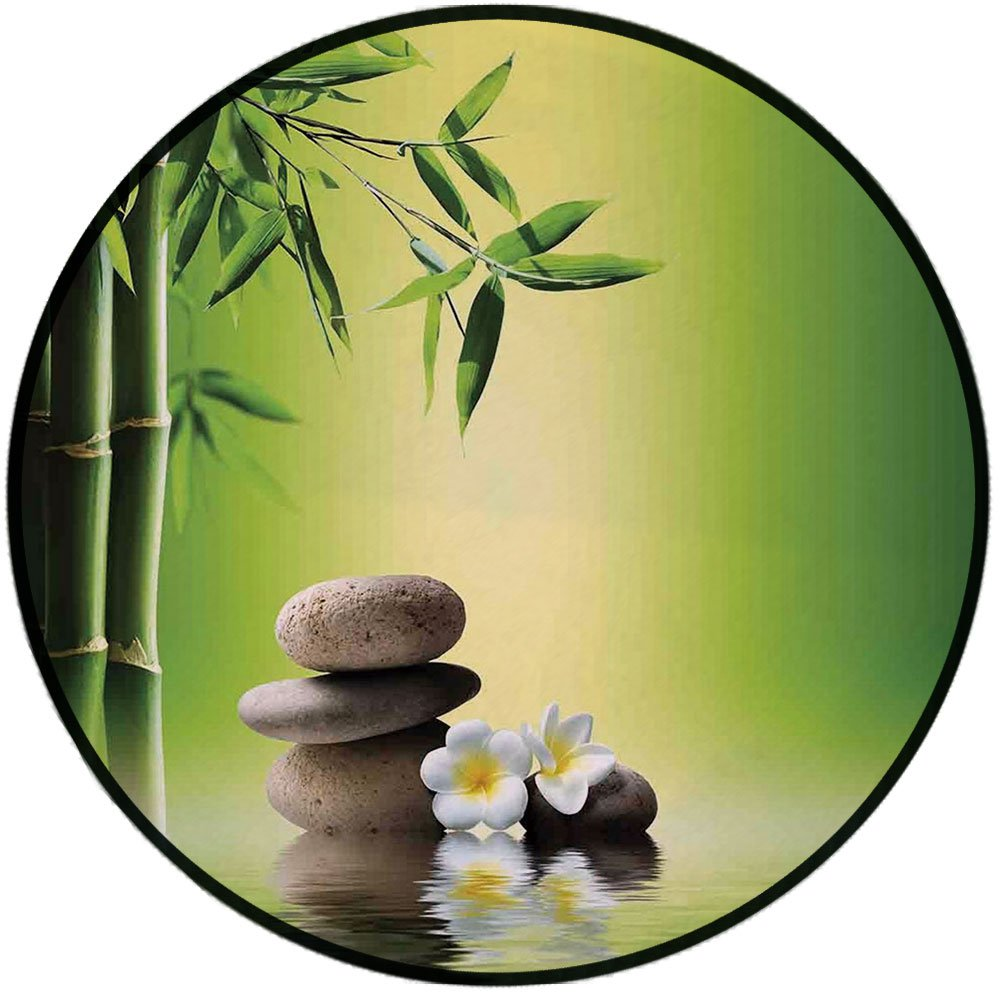 Printing Round Rug,Bamboo Spa Decor,Japanese Therapy Relaxation Stones Frangipani Flowers Mat Non-Slip Soft Entrance Mat Door Floor Rug Area Rug For Chair Living Room,