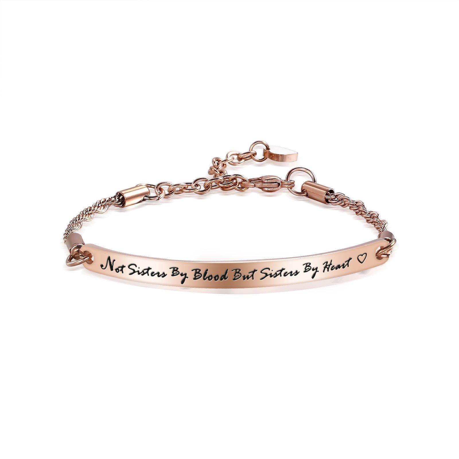 ivyAnan Jewellery Not Sister by Blood But Sister by Heart Bracelet Jewelry Gift For Best Friend Sister Women Girls(sister by heart-rose gold)