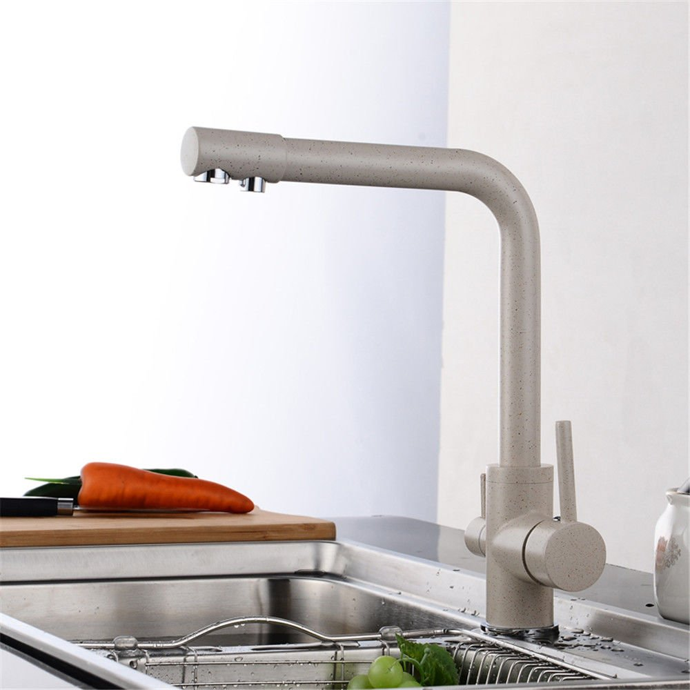 Commercial Single Lever Pull Down Kitchen Sink Faucet Brass Constructed Polished Copper Kitchen Hot and Cold Sink Faucet with Pure Water Sink Dual-Use redatable Beige Faucet
