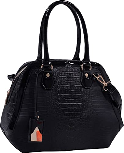 9d00b2b7a6fe Black Alligator Embossed Vegan Leather Shoulder Bag Purse Handbag  Handbags   Amazon.com
