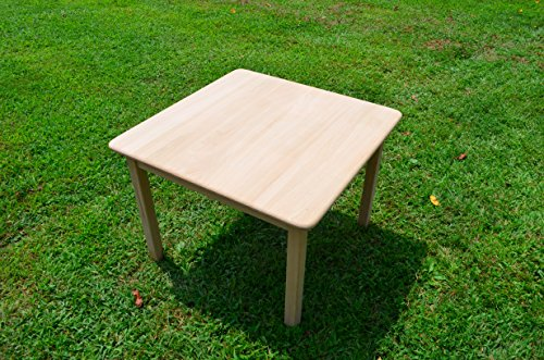 - Handmade By the Amish Is an Old Fashioned Solid Oak Quality Product Childs Play Table That Will Last for Many Generations. This Beautiful Table Is Unfinished and Ready for You to Stain to Match Current Decor Inside or Outside. Measurements Are 12 3/8 X 12 3/8 X 24 1/2 and From the Floor to the Seat Is 11 1/2