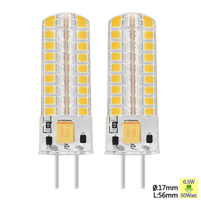 Sunix 6.5W GY6.35 LED Ampoules, 72 2835 SMD LED, 320lm, Dimmable, Blanc Chaud, 3000K, 360 Degrés Angle de Faisceau, Ampoule de projecteur de silicone, Paquet de 2 unités [Classe énergétique A] SU13
