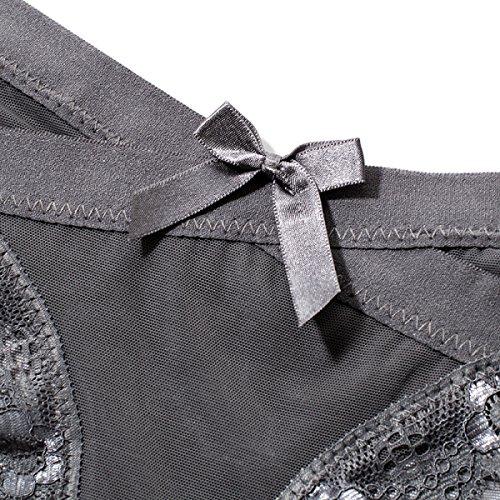 POKWAI Ropa Interior Transparente Atractiva Del Cordón Del Señuelo Traceless Bajo La Cintura Del Hilado De Las Mujeres De Color Sólido Calzoncillos De Algodón De La Entrepierna A3