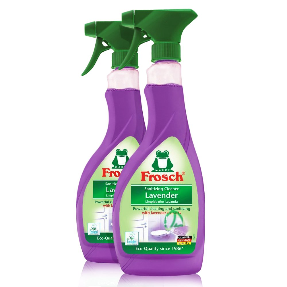Frosch Natural Lavender Multi-Surface Sanitizing Cleaner Spray Bottle, 500ml (Pack of 2)