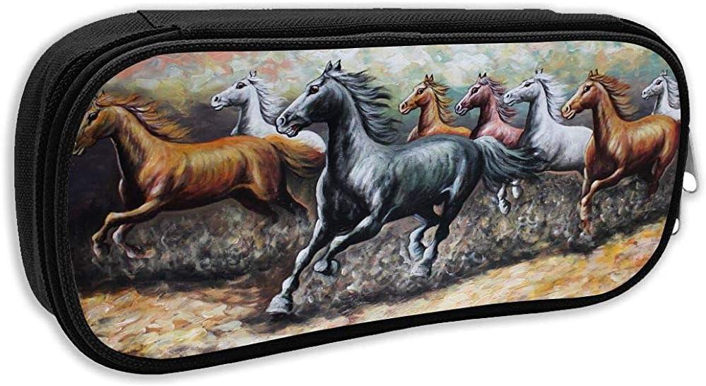 Bolsa de lápices Guapo Caballo Running Gráficos Portátiles Porta lápices Bolsa Papelería Organizador Estuche con cremallera