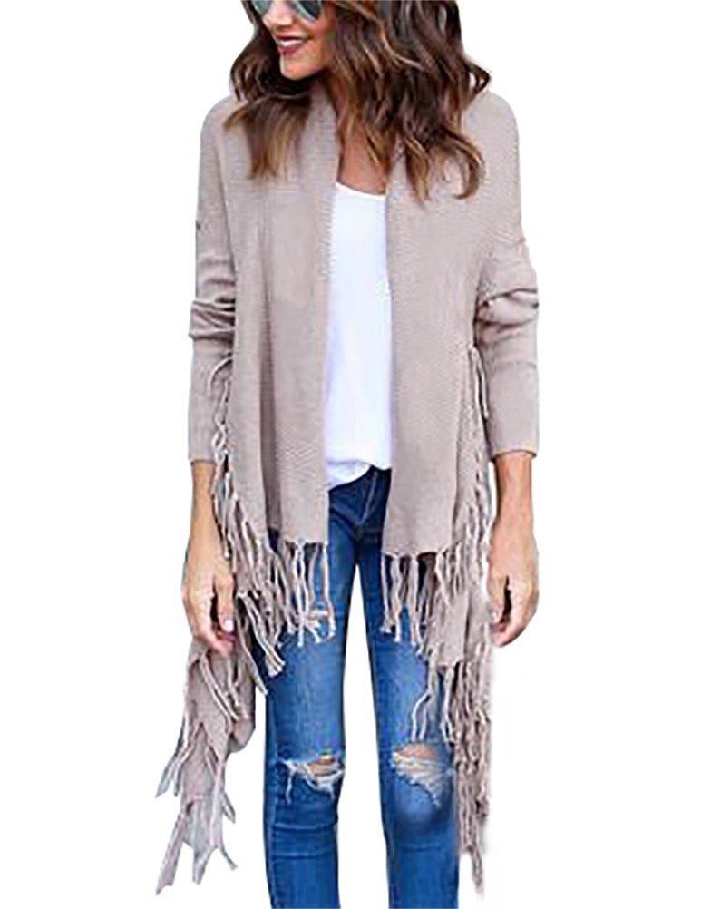 Myobe Open Front Boyfriend Fringed Cardigan Long-Sleeved Solid Sweater Tops(M, Apricot)