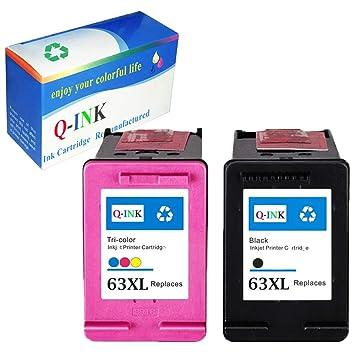 QINK 2 Pack para HP 63 X L negro Cartucho de tinta tricolor Show ...