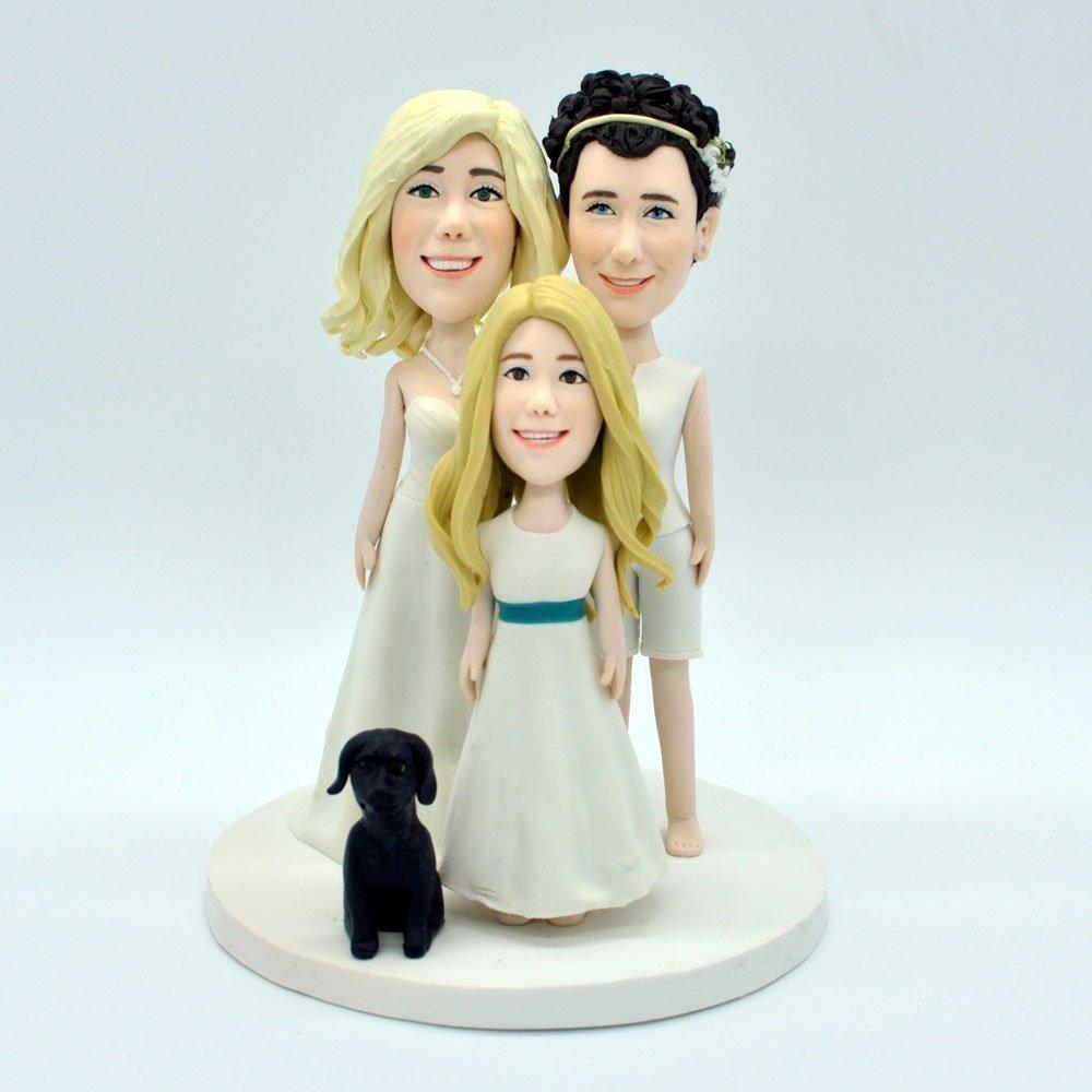 Custom Bride and Groom Wedding Cake Topper Family Cake Topper Spouses and Child Topper Mr and Mrs Cake Topper, Funny Wedding Topper