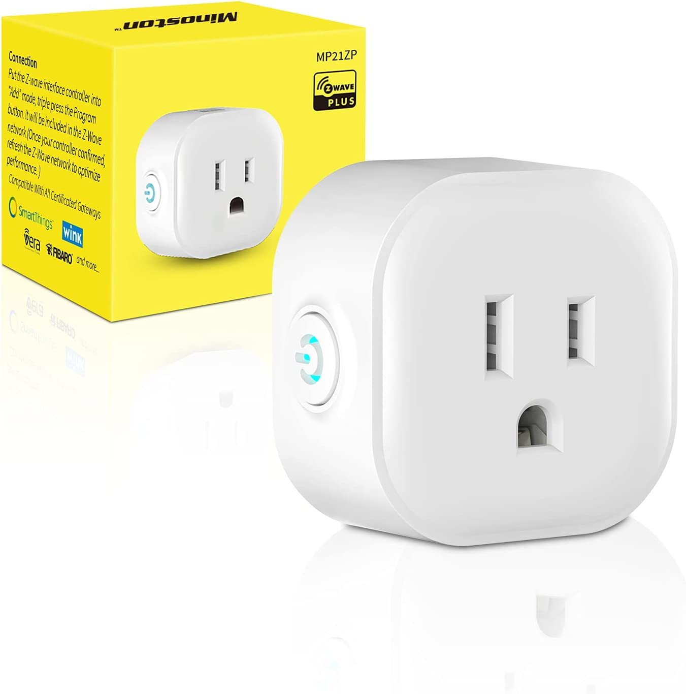 Z-Wave Plug with Energy Monitoring, Z-Wave Plus Mini Outlet Built-in Repeater Range Extender, Z-Wave Hub Required, Alexa and Google Assistant Compatible(MP21ZP)
