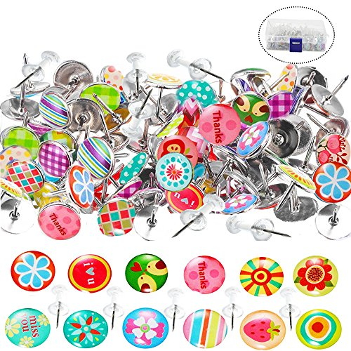 Thumb Tacks, 100 Pcs Creative Steel Push pins and 50 Pcs Clear Thumb Tacks with Clear Plastic Head for Photos Wall, Maps, Bulletin Board or Cork Boards with a Store Box(150Pcs in Total)