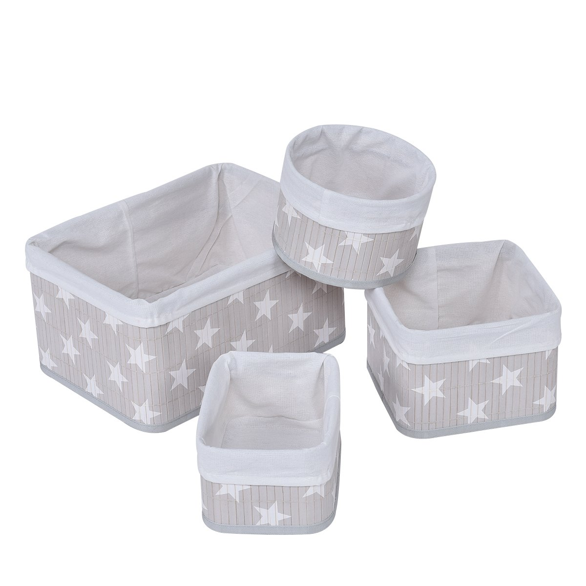 Giantex Set Of 4 Baskets Nesting Baskets Storage Bin Organizer Containers, Fabric Lined Bamboo (Star Pattern)