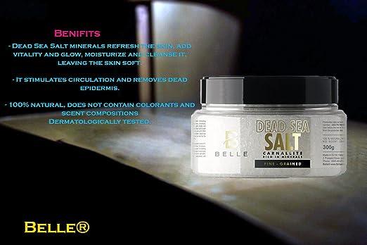 Belle® - Exfoliante sal del Mar Muerto - refresca la piel, aporta vitalidad y brillo, hidrata y limpia, dejando la piel suave - 300 g: Amazon.es: Belleza