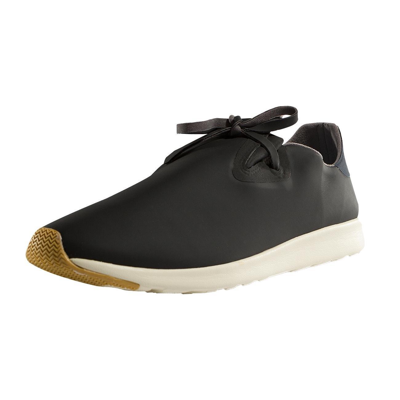 Native Unisex Apollo Moc Fashion Sneaker. Jiffy Black/Regatta Blue/Bone White/Natural Rubber