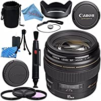 Canon EF 85mm f/1.8 USM Lens 2519A003 + 58mm 3pc Filter Kit + Lens Cleaning Kit + Lens Pouch + Lens Pen Cleaner + 58mm Tulip Lens Hood + Fibercloth Bundle