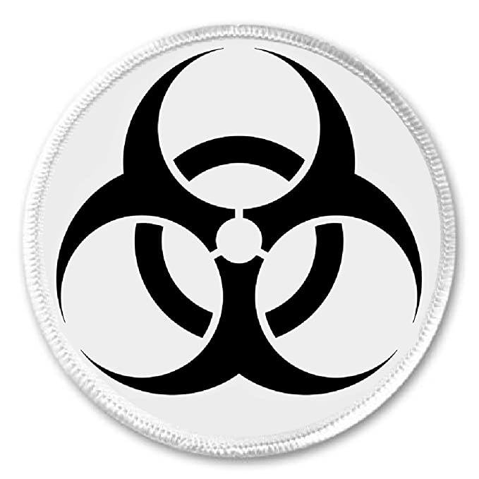 Biohazard Symbol Sign 3 Sew On Patch Biological Hazard Threat Lab