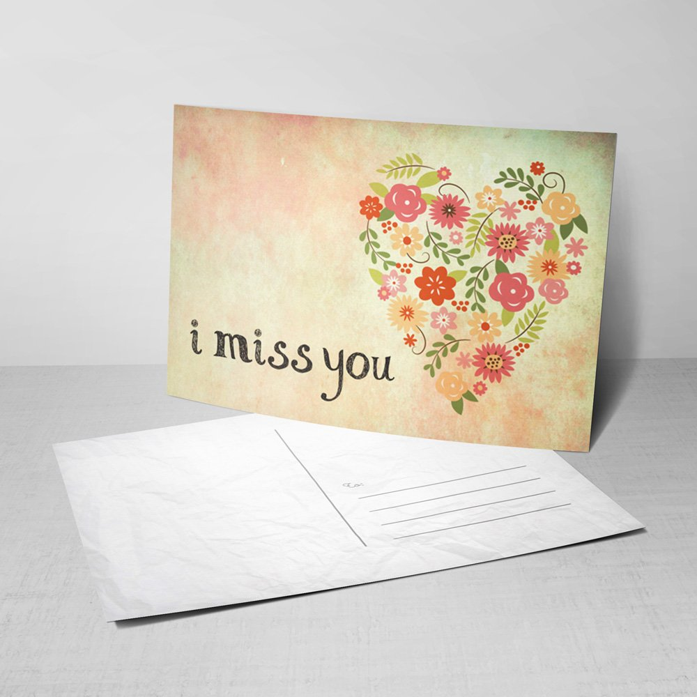 Amazon 5 From My Heart Postcards I Miss You Greeting Cards