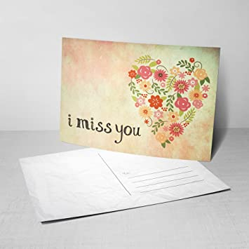 Amazon 5 from my heart postcards i miss you greeting cards 5 from my heart postcards i miss you greeting cards with floral heart design m4hsunfo