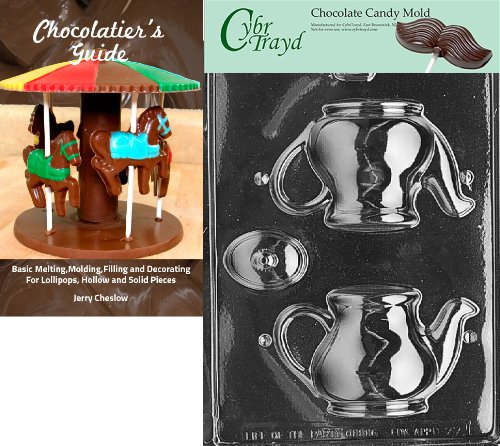 Cybrtrayd Bk-D077 Tea Pot Dads and Moms Chocolate Candy Mold with Chocolatier's Guide Instructions Book Manual