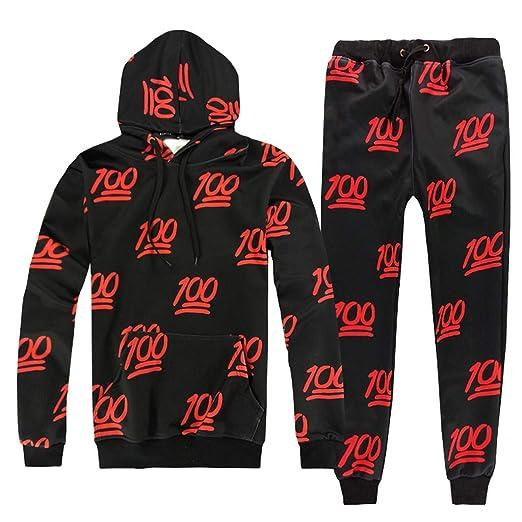 5bbcc0376597 2019 Men s Jogging Tracksuit Print Sportswear Casual Joggers Set Hoodie  Sweatshirt+Jogger Sweatpants by-Leegor at Amazon Men s Clothing store