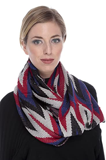 d907dd9ec393d GILBIN'S Womens Winter Knitted Classic Zigzag Chevron Infinity Loop Scarf  Scarves Black Blue Red