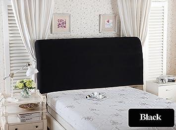 Bett Kopfteil Schutzhülle Stretch Volltonfarbe Schlafzimmer Dekor  Staubdichte Abdeckung (Schwarz, Kopfteil Länge: 120-140cm)