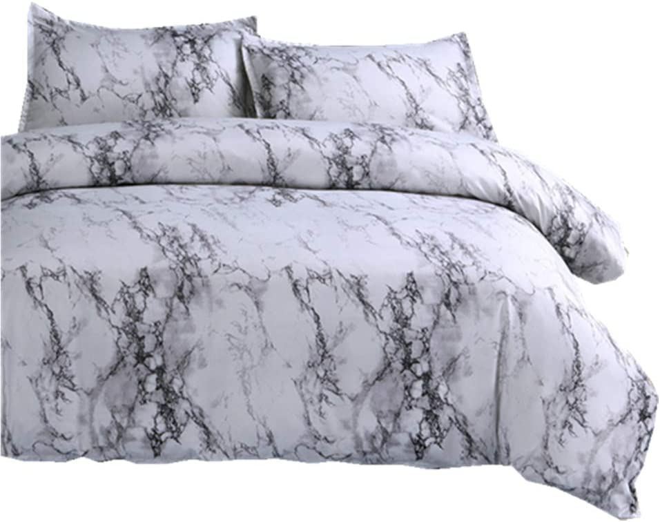 Marble Duvet Cover Sets Full Modern White Gray Quilt Cover With 2 Matching Pillow Shams Grey Microfiber Printed Bedding Set Kitchen Dining Amazon Com