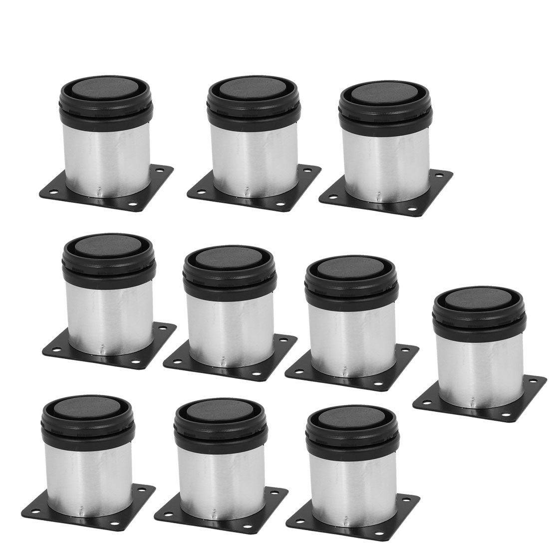 uxcell Kitchen Furniture Cabinet 50mm x 60mm Adjustable Feet Leg Round Stand 10PCS