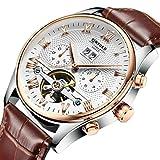 Baosity KINYUED Luxury Men's Automatic Mechanical Wristwatch Genuine Leather Business Watch Waterproof - Brown