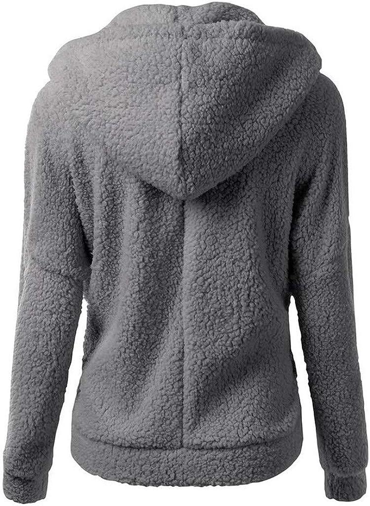 Yaseking Women Winter Coat Hooded Solid Color Long Sleeve Plus Size Zipper Warm Zipper Wool Hoodies Outwear