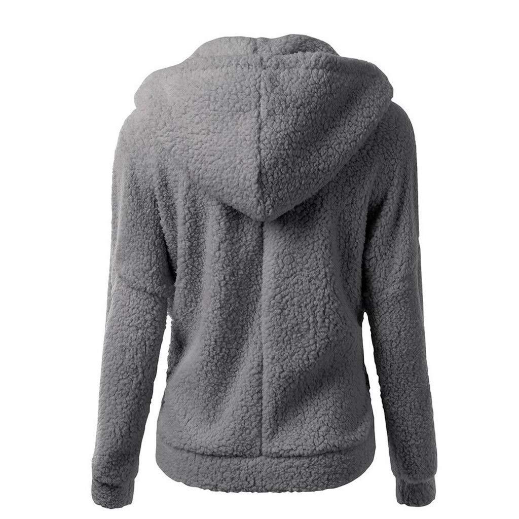 Wllsagl Xouwvpm Women Solid Color Cashmere Pullover Jacket Ladies Winter Warm Thick Hooded Sweatshirt Coat Wool Zipper Cotton Plus Size Outwear